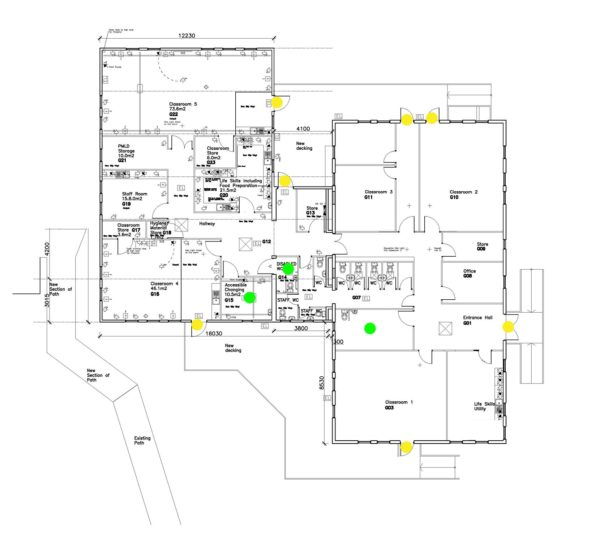 A plan of the Phase 4 building showing the accessibility areas